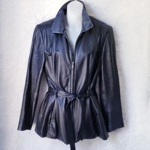 90's Leather Jacket with Tie Belt